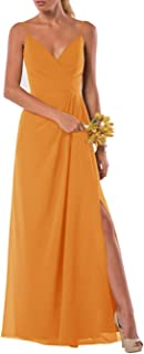 Jonlyc Spaghetti Straps V Neck Long Chiffon Bridesmaid Dress with Slit A Line Evening Gowns Backless