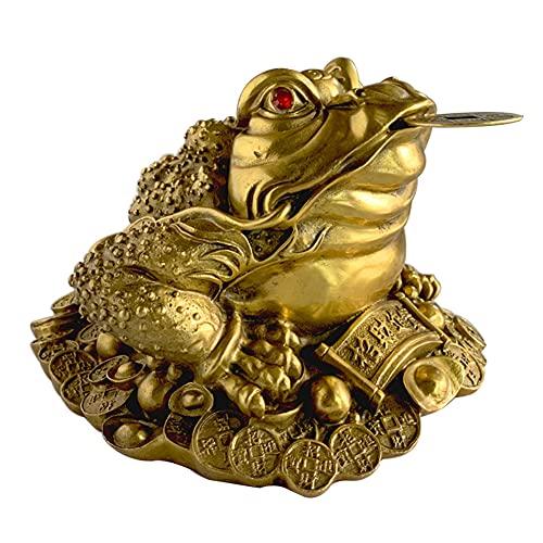 HEEYEE Estatua de Cobre, Feng Chino Feng Sapo 3-Legged Coin Moneda Afortunado Rana atrae Riqueza Buena Suerte y Prosperidad Buena Suerte Regalo,6.5 * 5 * 3cm