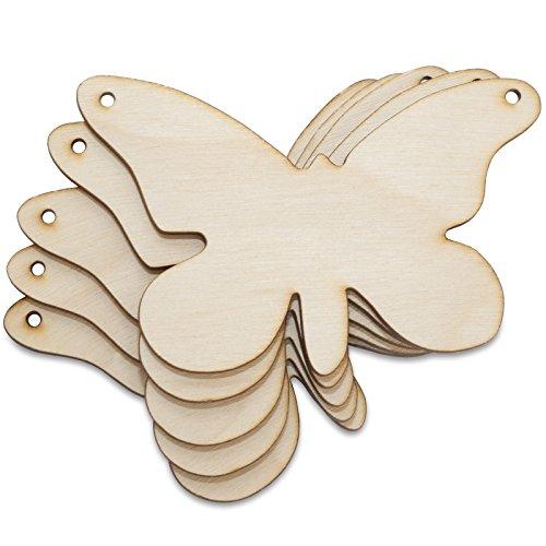 Creative Deco 10 x Schmetterling-Anhängers aus Sperr-Holz | 9,5 x 7,5 cm | Unlackierten Form-Scheiben | Perfekte Ausschnite für Bemalen, Dekorieren, Geschenk & Decoupage