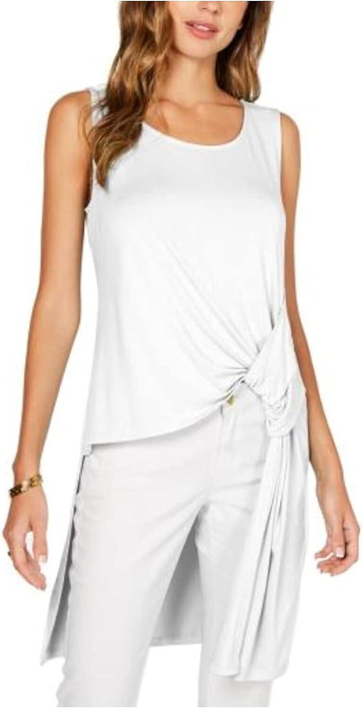 Alfani Knot-Detail High-Low Tunic White - S