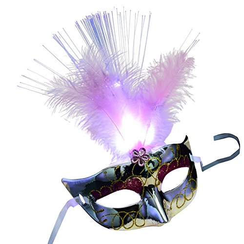 Women's LED Feather Masquerade Mask, Venetian Halloween Mardi Gras Cosplay Costumes Party Ball Prom Mask Fancy Dress Accessory