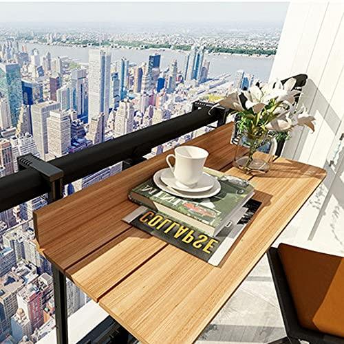 JIANXIN - Mesa colgante de barandilla de balcón, mesa ajustable y plegable, mesa auxiliar al aire libre, mesa de jardín para patio, color marrón