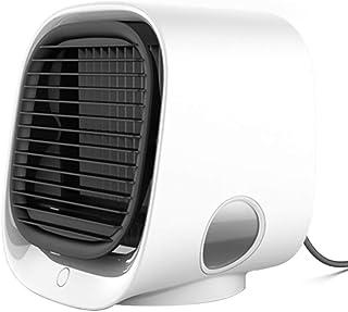Dr.Lefran Aire Acondicionado portátil, Mini Enfriador de Aire USB 4 en 1 con Luces LED de 7 Colores, 3 velocidades de Viento, Ventilador de enfriamiento de Escritorio,Blanco