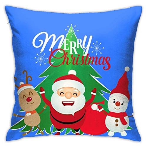 Throw Pillow Cover Cushion Cover Pillow Cases Decorative Linen Happy Christmas Santa Claus Elk And Snowman for Home Bed Decor Pillowcase,45x45CM