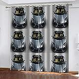 Cortinas Opacas 3D Impresión 90% Opacas protección UV Lavable en la Lavadora Ideal para habitación Oficina y salón 2 Piezas 117x183cm Carro
