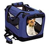 2PET Foldable Dog Crate - Soft, Easy to Fold & Carry Dog Crate for Indoor & Outdoor Use - Comfy Dog Home & Dog Travel Crate - Strong Steel Frame, Washable Fabric Cover, Frontal Zipper Medium Blue