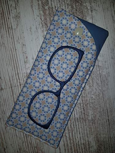 Brillenetui Retroblume beige blau für Zweitbrille, Sonnenbrille