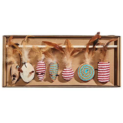 Dein Zooshop Natürliches Katzenspielzeugset 7 teilig in umweltfreundlicher Geschenkverpackung