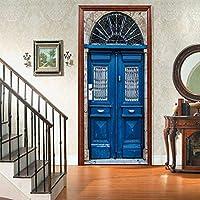 ドアデカール 幅88cm x 丈200cm アート防水ドアデカールドア壁壁画壁紙ステッカー 青い木製のドア ドア壁紙デカール