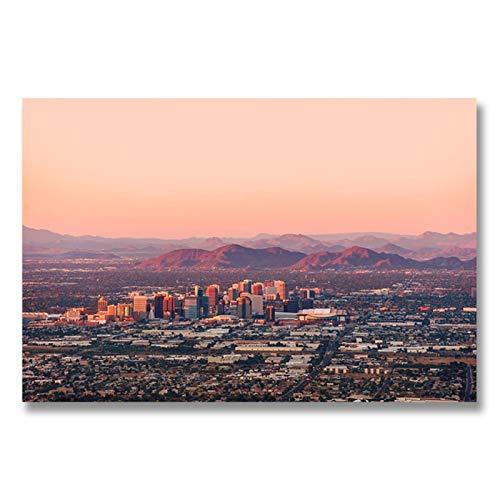 Sunset In Phoenix Arizona Pintura en Lienzo Landcape Posters e Impresiones Quadros Cuadro de Arte de Pared para decoración de Sala de Estar 11.8x15.7in (30x40cm) x1pcs SIN Marco