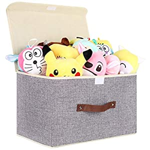 Dofilachy Toy Chest with Flip-Top Lid,Collapsible Toy Box for Boys/Girls-Canvas Soft Fabric Toy Storage Bin for Nursery, Playroom, Closet, Home Organization (One Pack)