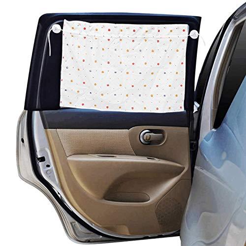 Hileyu 2 szt. osłony przeciwsłoneczne na szyby samochodowe elastyczne samochodowe osłona przeciwsłoneczna regulowana boczna osłona przeciwsłoneczna samochodowa zasłona przeciwsłoneczna dla niemowląt żaluzje do samochodu biała - A