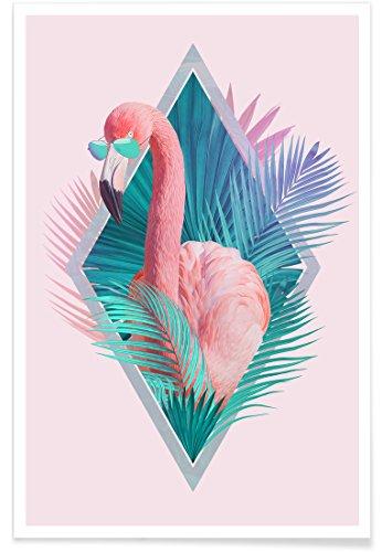 Juniqe® Affiche 60x90cm Flamants Roses - Design Tropical Leaves (Format : Portrait) - Poster, Tirages d'art & Tableaux par des Artistes indépendants créé par Róbert Farkas