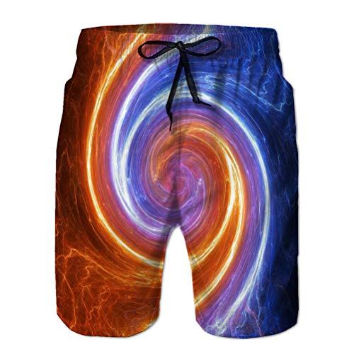 LJKHas232 Beach Shorts Pantaloni Costume da Bagno con Tasche Uomo vorticoso Fuoco Ghiaccio Plasma lightni M