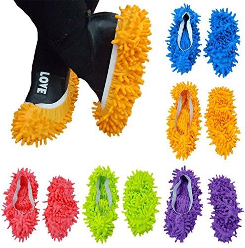 10 PCS 5 pares plumero Fregona Zapatos Cubierta Multi Función Chenille Fibra Lavable Polvo Fregona Zapatillas Piso Limpieza Zapatos para Baño Oficina Cocina Casa Pulido Limpieza