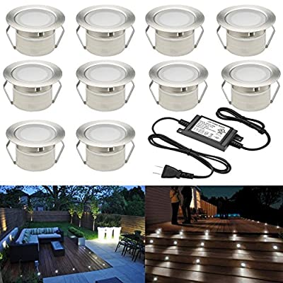 "Sumaote Low Voltage LED Deck Light Kit Φ1.85"" Waterproof Recessed Deck Lamp LED in-Ground Lights for Step Stairs Outdoor Garden Yard Patio Landscape Decor"