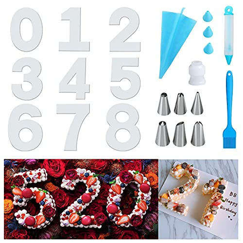 Stampo Torta Numero 0-9, Stampi per Dolci Numeri Grandi, Stampi per Torte Numeri 12 pollici con Beccucci Sac a Poche e Sacca Poche per Dolci, 18 Pezzi per Matrimoni Compleanni Anniversari (12 pollici)