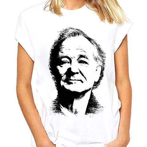 Bill Murray Face T Shirt - Bill Murray Portrait on Tee Shirt - Ghost Busters - Saturday Night Live - Stripes - Caddy Shack - Groundhog Day (MZ)