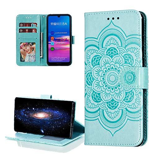 COTDINFOR Etui für Huawei Y6 2019 Hülle PU Leder Cover Schutzhülle Magnet Tasche Flip Handytasche im Bookstyle Stand Kartenfächer Lederhülle für Huawei Honor 8A / Y6 2019 Green Mandala LD.