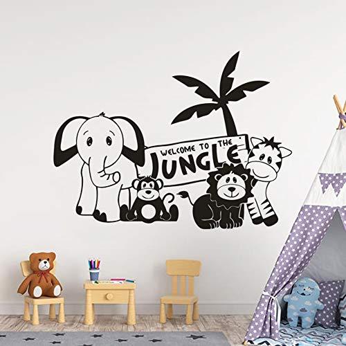Cartoon Tier Zoo Thema Wandkunst Aufkleber Kinderspielzimmer Dekoration niedlichen Affen Elefant Wandtattoo Dschungel Tier Party Vinyl Wandbild 107x80cm