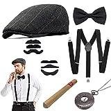 Accesorios para Hombre de la década de 1920 Gatsby Accesorios Hombres Mafioso Que Incluye Gorro de Panamá, Correas elásticas Ajustables, Corbata de Nudo para Hombre y Reloj de Bolsillo Vintage