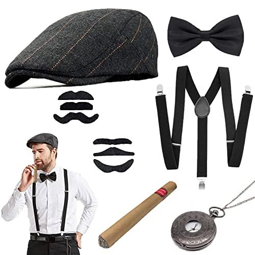 Vcumter 1920er Jahre Herren Accessoires Gatsby Kostümzubehör Set Mit Panamahut Gummiband, Y-Rücken Hosenträger, Fliege, Vintage Taschenuhr und Plastikzigarre