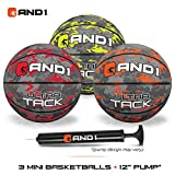 AND1 Mini Basketball Set for Kids (Deflated w/Pump Included): - 3 Pack of Premium Youth Size Basketballs, Easy to Grip, Shoot & Dribble, Made for Indoors and Outdoors, Camo Series