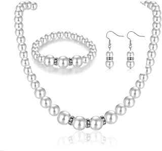 Faux Pearl Necklace Earring Set for Women Girls Imitation Crystal Choker Costume Jewelry Sets for Bridal Wedding
