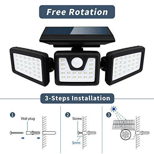 Otdair Solar Security Lights, 3 Head Motion Sensor Lights Adjustable 70LED Flood Lights Outdoor Spotlights 360° Rotatable IP65 Waterproof for Porch Garden Patio Yard Garage Pathway, 2 Pack