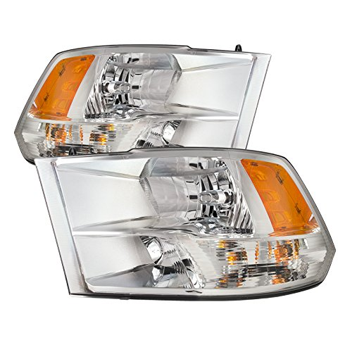 PERDE Chrome Housing Halogen Headlights w/Quad Performance Lens Compatible with Dodge Ram 1500 2500 3500 Ram Includes Left Driver and Right Passenger Side Headlamps