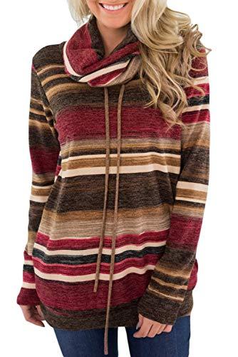 BLENCOT Felpe Casual Collo ad Anello Maglione Cappotto Top Manica Lunga Pullover Donna Elegante a Strisce con Tasca, Rosso, XXL