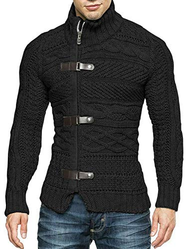 Hestenve Mens Grey Sweater Cable Knitted Turtleneck Zip Button Front Winter Cardigan Pullover (Large, Black)