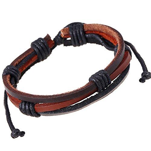 CAOLATOR Bracelet Femme Conception rétro Cordon tressé Bracelet Menotte Chaîne de Main Tribal Tressé Corde de Chanvre Marron