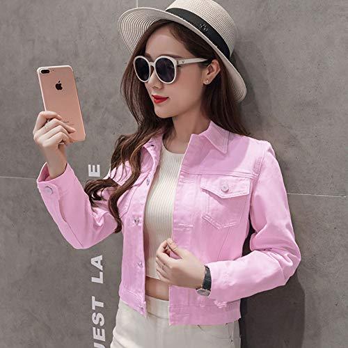 NZJK mode jeans jas vrouwen lente 2XL voorjaar herfst hand penseel lange mouwen stretch korte jeanjas wit roze mantel