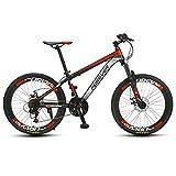QMMD Kinder MTB 24 Zoll, 24-Gang Mountainbike, Rahmen aus Kohlenstoffstahl, Mädchen/Jungen Hardtail MTB, Gabel-Federung Fahrräder, Fahrrad mit Scheibenbremsen,Red Spokes,24 Speed