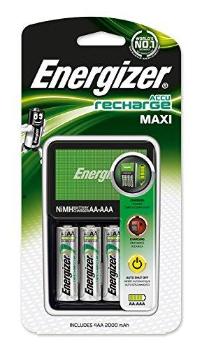 Oferta de Energizer E300321200 - Cargador de Pilas MAXI Compatible AA y AAA, Incluye 4 Pilas Recargables AA 2000 mAh