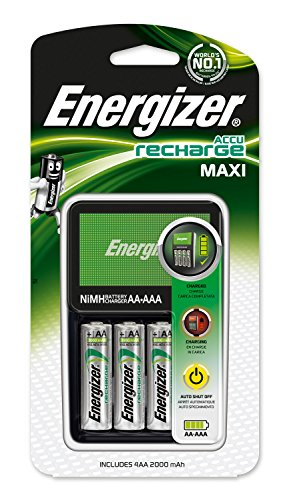 Energizer E300321200 - Cargador de Pilas Maxi Compatible AA y AAA, Incluye 4 Pilas Recargables AA 2000 mAh