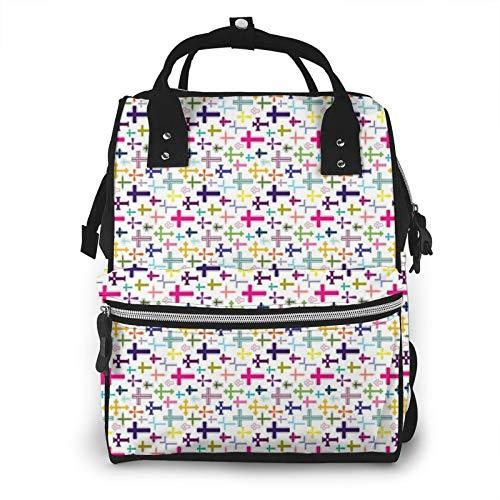 Colorido impermeable multifunción bolsa de pañales de viaje Mochila de cuidado de bebé pañales, gran capacidad, elegante y duradero