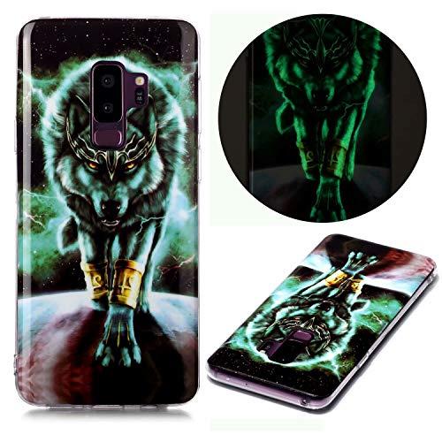 Miagon Leuchtend Luminous Hülle für Samsung Galaxy S9,Fluoreszierend Licht im Dunkeln Handyhülle Silikon Case Handytasche Stoßfest Schutzhülle,Wütend Wolf