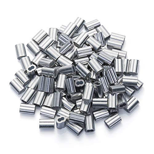 1/16' Cable Ferrule 200PCS, Aluminum Crimping Loop Sleeve for Wire Rope