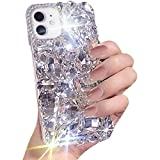 JSY for iPhone 12/12 pro Cute Sparkle Jewels Case, TPU Soft 3D [Heavy Duty] Stunning Stones Crystal Rhinestone Bling Full Diamond Glitter Shining Cover for iPhone 12/12 pro -Clear