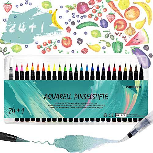 Pinselstifte Set, 24 Aquarellpinsel + 1 Wassertankpinsel Stift, weiche Pinselstifte für Malen Zeichnen, Kalligraphie und Bullet Journal