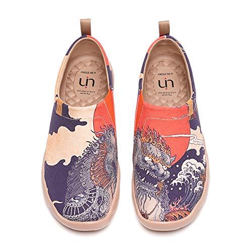 UIN Herren Painted Mikrofaser Leder Slip On Schuhe Lässiger Fashional Sneaker Rot Reiseschuhe Segelschuhe Senbon Torii(41)