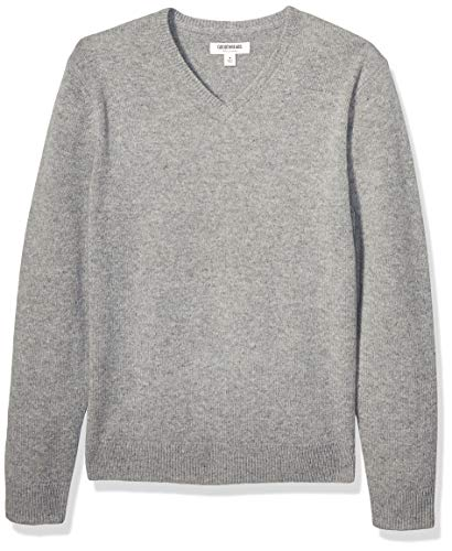 Goodthreads Lambswool V-Neck Sweater pullover-sweaters, grau meliert, US M (EU M)