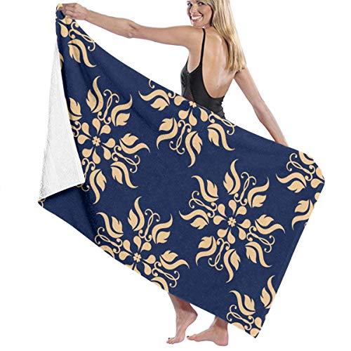 Rterss Badetuch-Set, goldene Blumen, Textiltapete auf blauem Hintergrund, groß, weich, saugfähig, Unisex, geeignet für Badezimmer, Schwimmbad, Strand, personalisierbar
