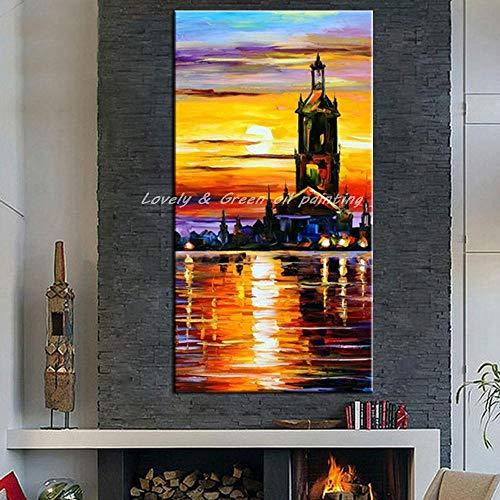 Olieverfschilderij op doek handgeschilderd, abstract oceaan landschap, gele zon zee slot gebouw landschap, hedendaagse grote handgeschilderde kunstwerken schilderij voor huis woonkamer slaapzi 50×100cm