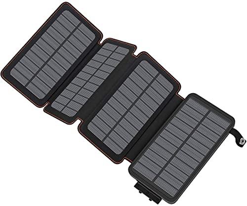 A ADDTOP Solar Powerbank 25000mAh wasserdichte Solar Ladegerät mit 4 Solarpanel Tragbare Externer Akku mit Dual Input Ladeport für Smartphones, Tablets und mehr