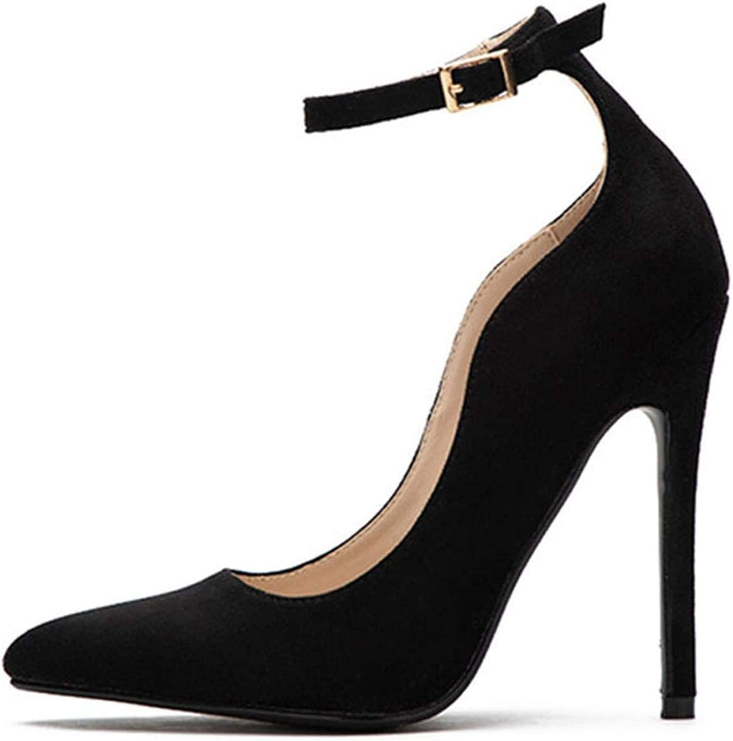 Women's pointed velvet elegant party low shoes high heels