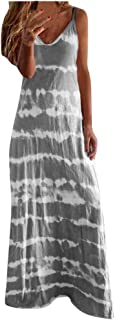 Women Plus Size Casual Long Dress, Ladies V-neck Tie-dye Printed Sleeveless Party Maxi Dress