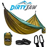 DirtyJaw Double Hammock Set – Parachute Lightweight Nylon with Bonus TrailWolf Suspension Tree Straps   Perfect for Camping, Portable, Outdoor, Backpacking, Survival & Travel – USA Brand